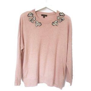J. Crew Opal-embellished pink sweater, size L